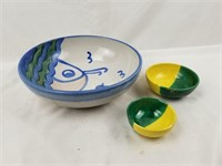 Large Signed Art Pottery Bowl W/ 2 Smaller Ones