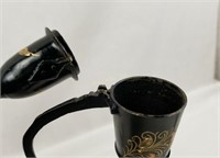 Pair Of Ornate Tall Metal Teapots Decorative