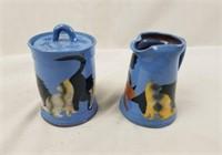 Heavy Stamped Cat Ceramic Sugar & Creamer