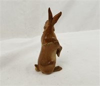 """Carved Wooden Rabbit Statue Figurine 6.25"""" Tall"""