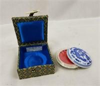 Pari Of Asian Small Trinkets Small Boat & Ceramic