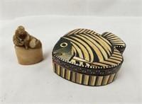 Carved Jade Stamp Chinese Art & Fish Box
