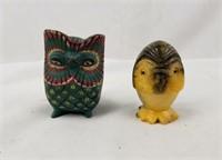 Pair Of Owl Statue Figures Cute
