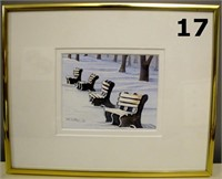 "Water Colour ""Benches In Winter"" By Myrna Putns"