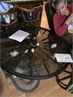 """42"""" Wagon Wheel Glass Top Table"""