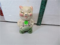 "Vintage Porcelain Piggy Bank 5&7/8"" tall"