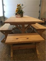 Farm House Outdoor Table w/Benches