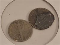 2 Pc. 1943-D, 1945 Ten Cent