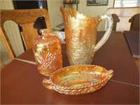 (3) PIECES CARNIVAL GLASS