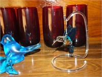 (6) RUBY TUMBLERS, GLASS CARDINALS, BLUEBIRD, MORE