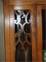 ANTIQUE WOOD/GLASS DOORS CURIO CABINET W/KEY