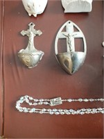 RELIGIOUS ITEMS, HOLY WATER FONTS, ROSARY