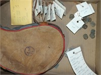 FLASK, PHEASANT FEATHERS, TRAPPING TAGS