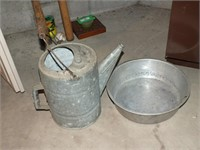 VINTAGE GALVANIZED WATERING CAN, METAL PAN