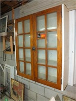 VINTAGE WALL CABINET W/GLASS DOORS
