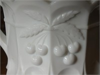 WESTMORELAND W/CHERRY THUMB PRINT BISQUIT JAR