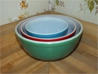 (3) PYREX OVENWARE BOWLS, PRIMARY COLORS