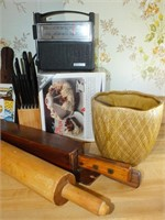 WOODEN ROLLING PIN, RADIO, KNIVES, MORE
