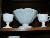 MILK GLASS HOBNAIL DISH/GLASSES, MORE