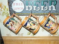 WOODEN SIGN W/4 POTTERY STEINS