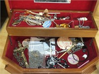 JEWELRY BOX, TIE CLIPS, PINS, ROSARY, QUARTZ WATCH