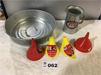 OIL CHANGING PAN, FUNNELS, PITCHER