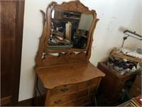 Vintage oak dresser with mirror