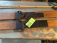Pair of Wooden Skis and Ski Pole