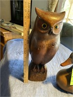 Canada Goose and Owl Wood Decoy