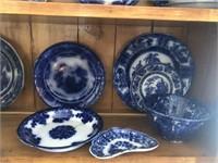 Flow blue plates bowls cups