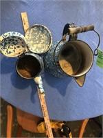 2 early granite ware coffee pots