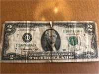 Two Dollar Bill 696A (ripped)