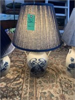 3 Blue Marked Crock Lamps