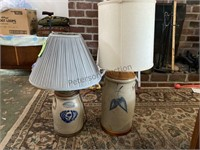 2 Blue Marked Crock Lamps