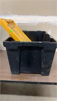 Black Plastic Tote with Yellow Lid (LID CRACKED)