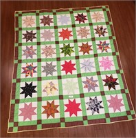 Vintage Handmade Multicolor Lemoyne Star Quilt
