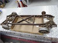 Vintage metal car frame item w/ wood wheels - appr