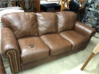 Leather Brown sofa with Brass Studs