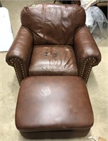 Matching Leather Brown chair with Brass studs