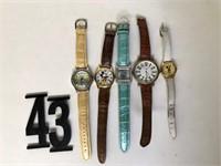 2 Bangle bracelets, 5 Wrist Watches