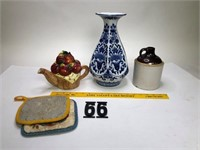 Uhl pottery jug w/small chip, Vase & Tea pot