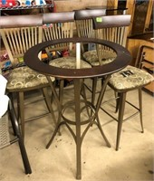 4 Metal Barstools & Hightop Table with Glass Top