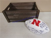 AUTOGRAPHED FOOTBALL AND BOX