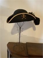 Vintage Wool Pirates Hat with Metal Display