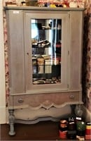 Vintage Pale Olive Green Mirrored Display Cabinet