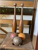 Antique Juggling Pins and Balls