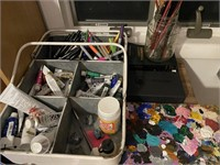 Metal Cabinet with Assortment of Art Supplies