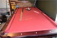 """Pool Table (3.5 x 7"""") w/ball & rack plus 3 cue"""