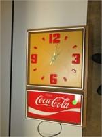 """Vtg Non Working Coca Cola Clock 18"""" x 12"""""""