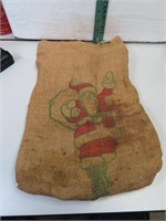 Vtg California Walnut Burlap Bag with Santa Claus